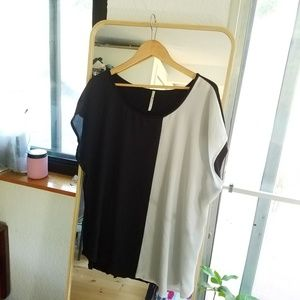Modcloth Asymmetrical Black and White Top